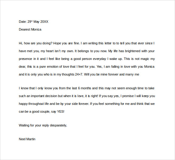 love proposal letter for girl