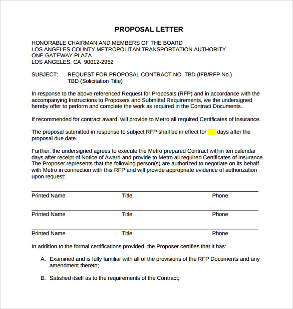 Sample Proposal Letter   Free Documents In Pdf Word
