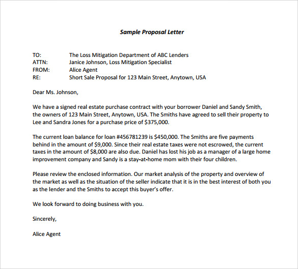 Sample Proposal Letter For Free. How To Write A Proposal Example