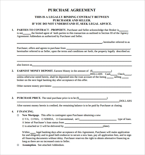 Sample Real Estate Purchase Agreement Template 8 Free Documents – Property Agreement Template