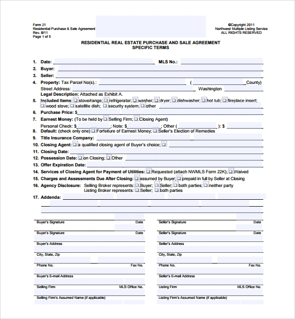 Sample Real Estate Purchase Agreement Template 8 Free Documents – Sample Real Estate Purchase Agreement Template