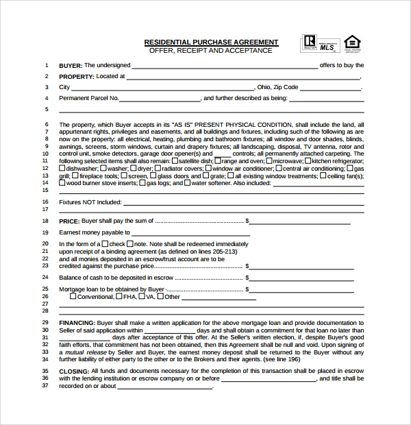 Sample Real Estate Purchase Agreement Template 9 Free Documents – Agreement to Purchase Real Estate Form Free