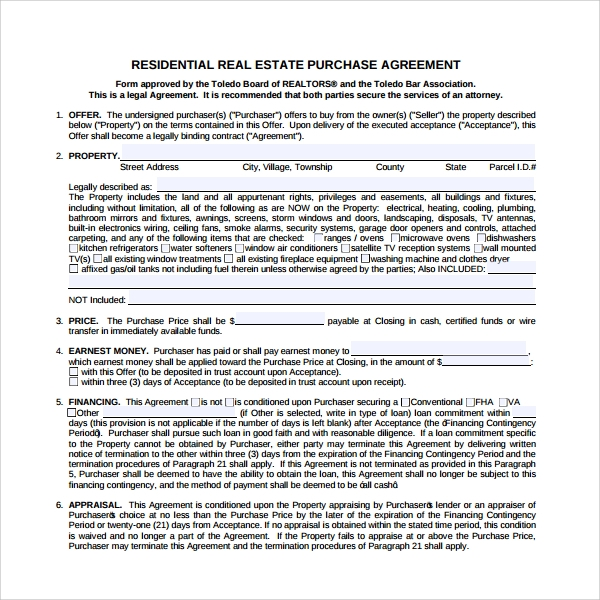 sample real estate purchase agreement template 7 free documents in