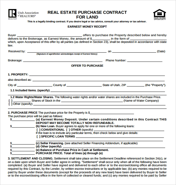 Sample Real Estate Purchase Agreement Template 8 Free Documents