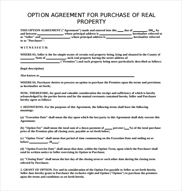 Sample Real Estate Purchase Agreement Template 7 Free
