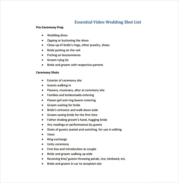 Essential Video Wedding Shot List Free Pdf