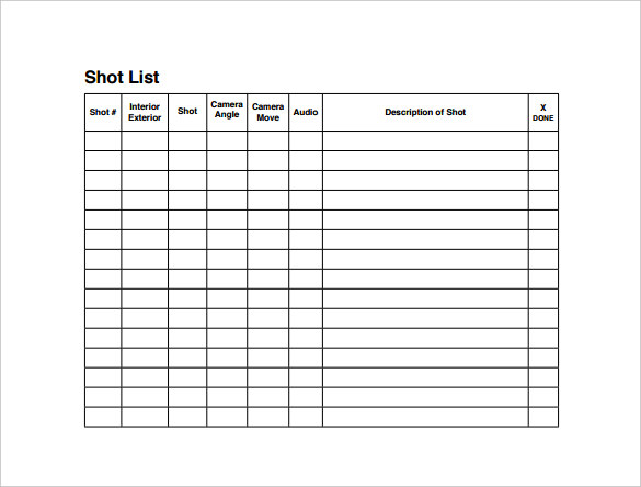 Shot List Template Film Shot List Shot List Template Free Word