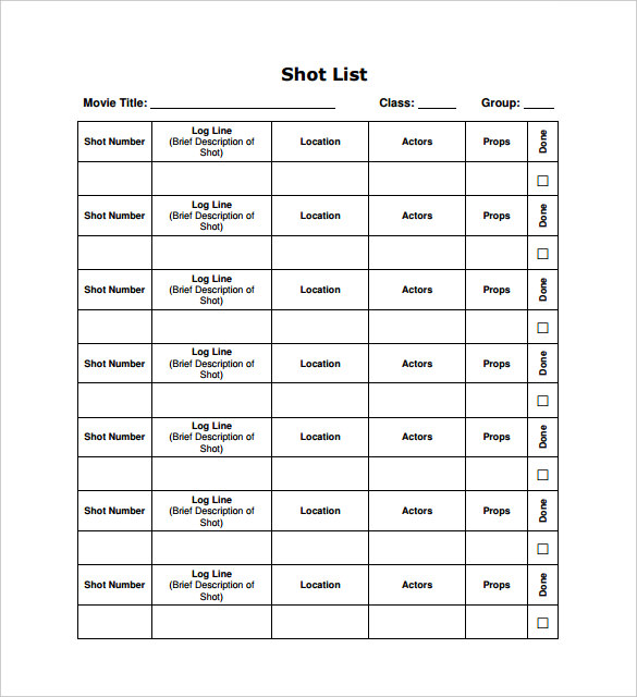 High Quality Movie Shot List PDF Template Free Download