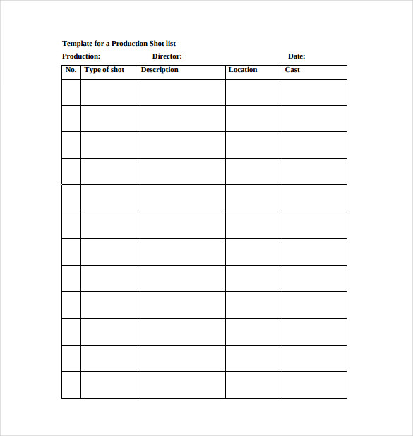 Template For A Production Shot List PDF Free Download