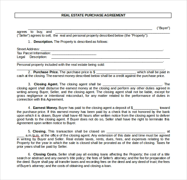 real estate purchase agreement word format
