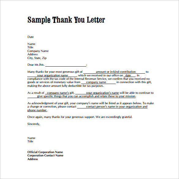 Thank You Letters For Gifts   Download Free Documents In Word Pdf
