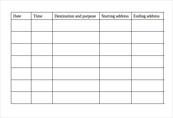 30 Printable Mileage Log Templates (Free) - Template Lab