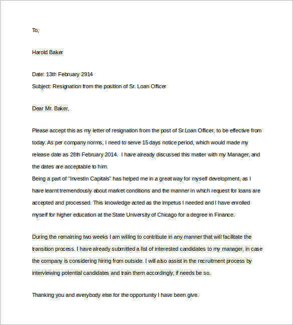 loan officer resignation two weeks notice letter