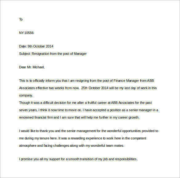 manager resignation two weeks notice letter