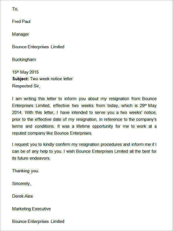 15 sample two weeks notice letters in doc sample templates