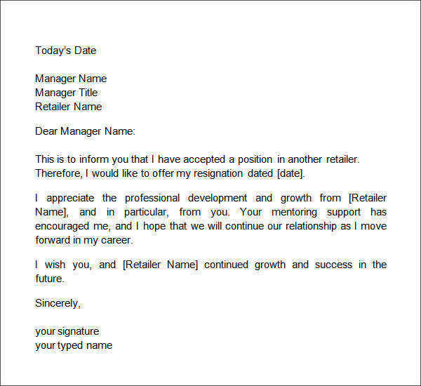 Two Weeks Notice Letter Retail  Two Weeks Notice Letter
