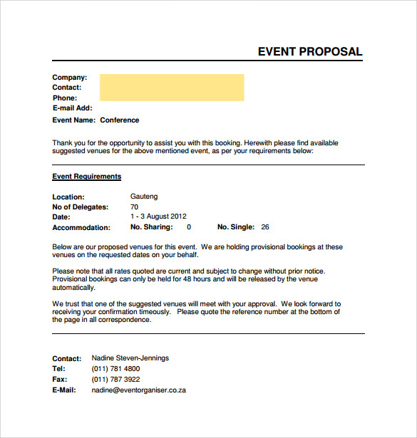 Event proposal template word accmission