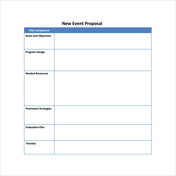 New Event Proposal Template  Proposals Templates