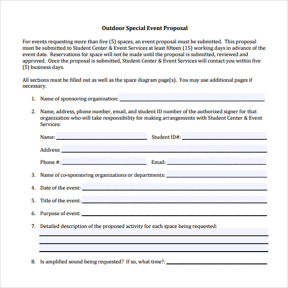 Activity Proposal Sample Party Planner Template Click On The