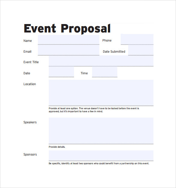 Free Event Proposal Template  CityEsporaCo