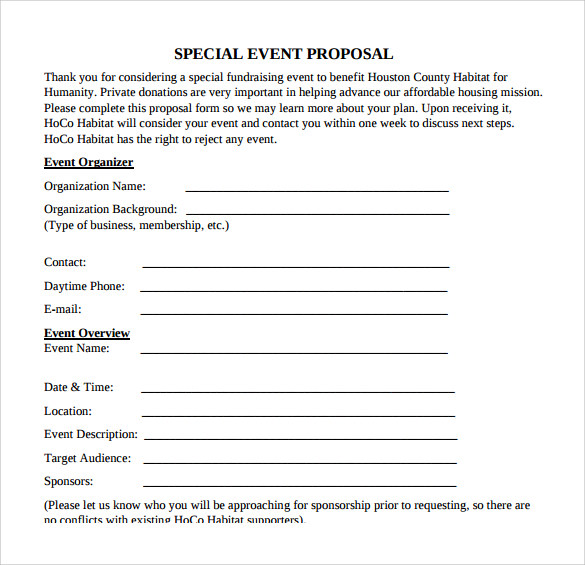 Sample Proposal Event