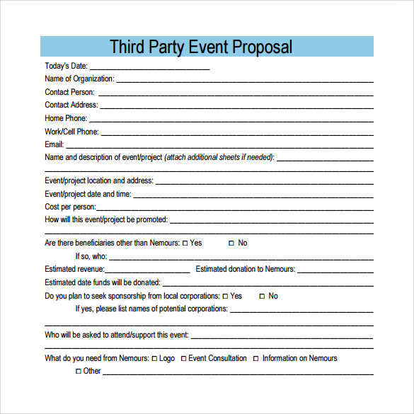 Superb Third Party Event Proposal Template Inside Party Proposal
