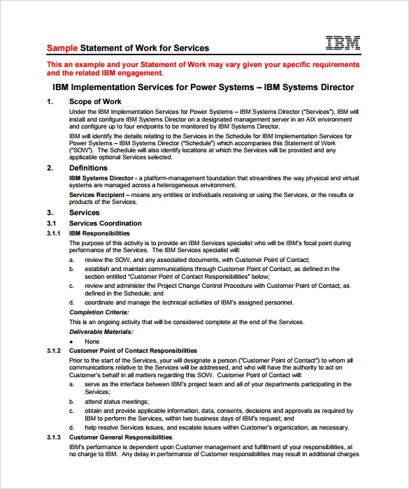 Sample Statement Of Work Template 13 Free Documents