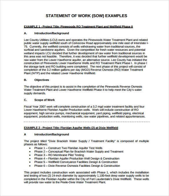 Sample Statement Of Work Template   Free Documents Download In Pdf