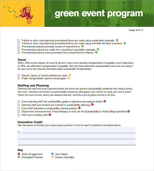 green event program template