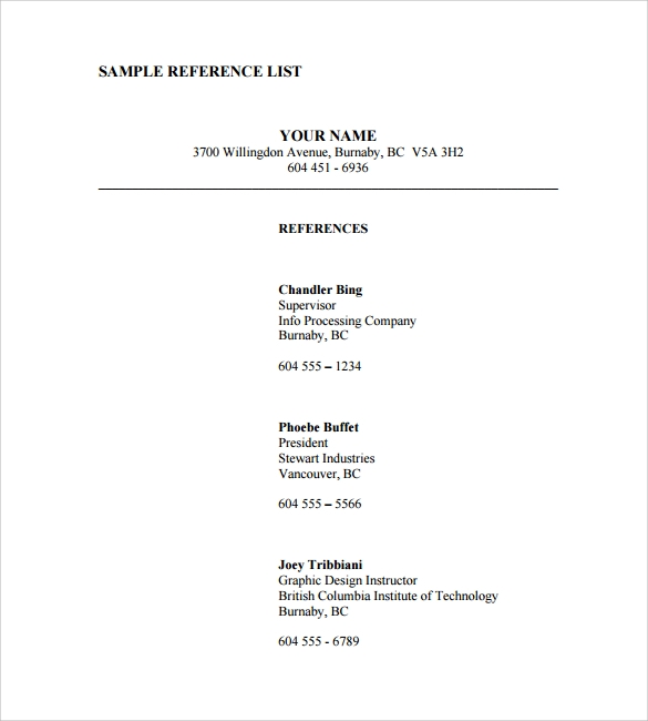 sample reference list reference template for resume resume template references available upon