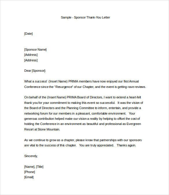 thank you letter format 13 sample professional thank you letters pdf doc 25111 | Professional Sponsor Thank you Letter Free Download in DOC
