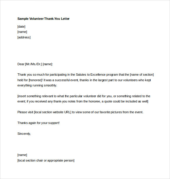 professional volunteer thank you letter free download in ms word