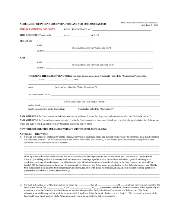 Agreement Between Subcontractor And Sub Subcontractor  Contractor Agreement Template Word