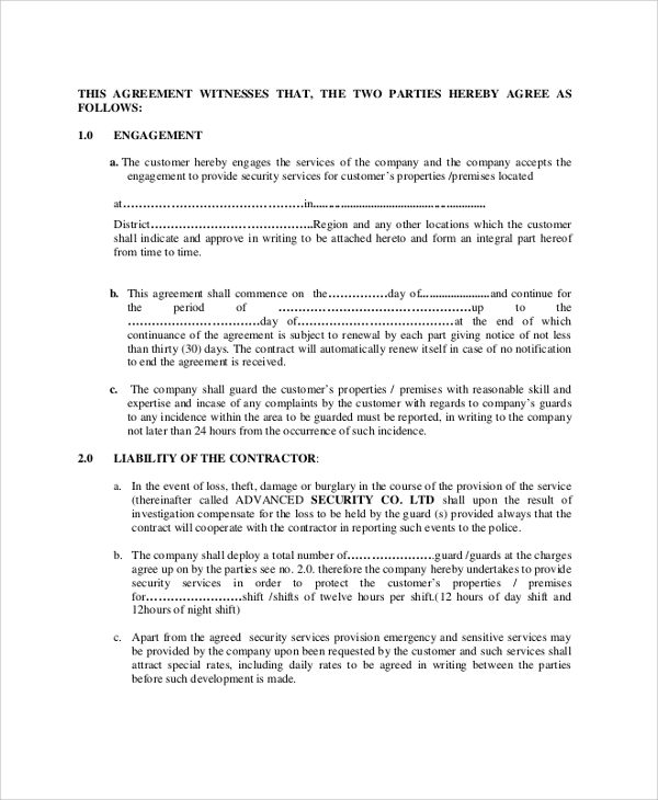 52 contract agreement templates sample templates for Security company contract template