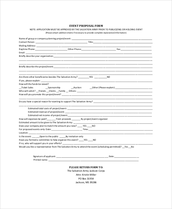 Sample Event Proposal Template 21 Free Documents in PDF Word – Proposal Form Template