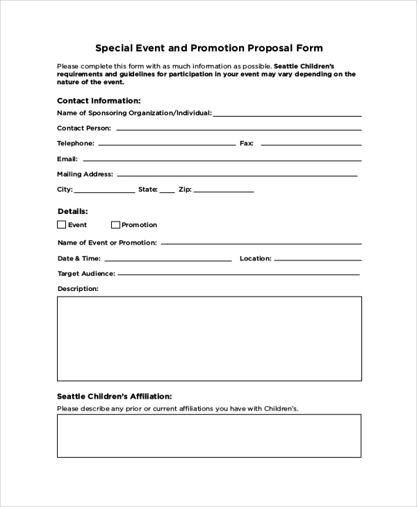 Sample Event Proposal Template 21 Free Documents in PDF Word – Free Printable Proposal Forms