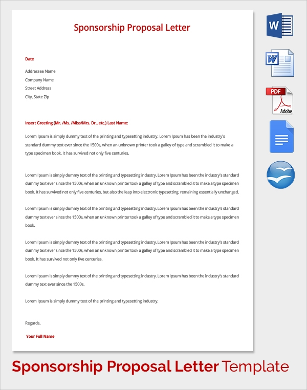 Sample Sponsorship Proposal Template 15 Documents in PDF Word – Proposal for Sponsorship Template