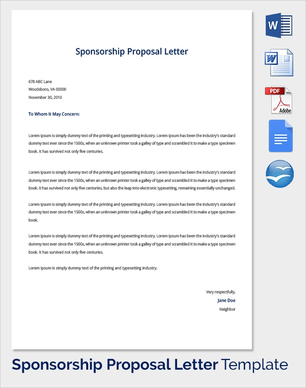 Sample Sponsorship Proposal Template 15 Documents in PDF Word – Sponsorship Proposal Template Free