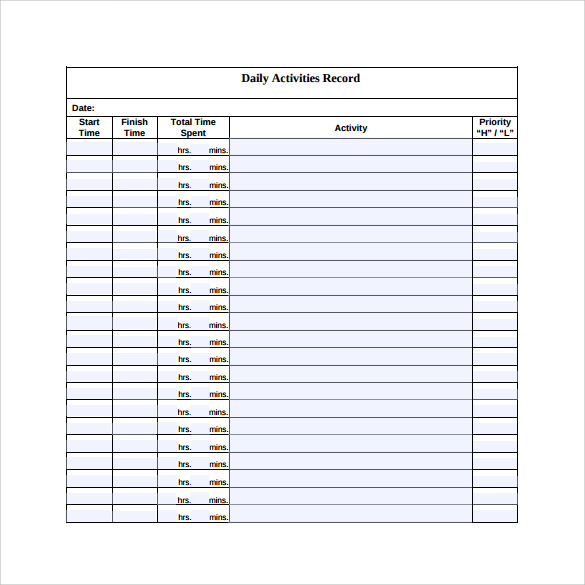 Free 15 Sample Daily Log Templates In Pdf Ms Word