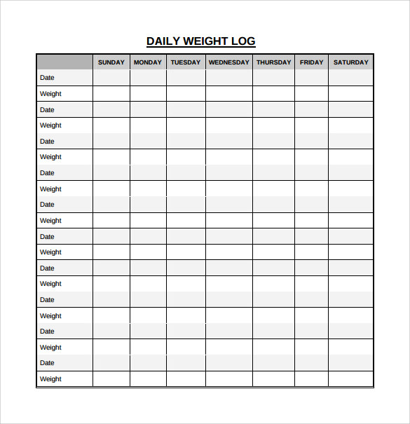 Daily Log Template – Blank Calendars 2017