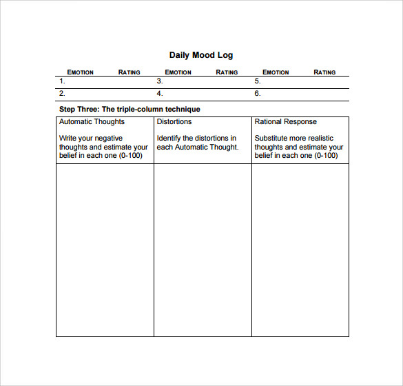mood log template - 16 sample daily log templates pdf doc sample templates