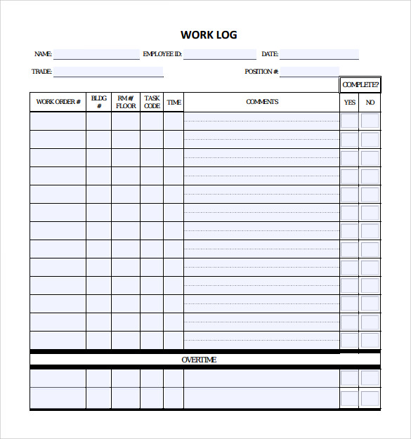 Daily Work Log Template  Blank Calendars