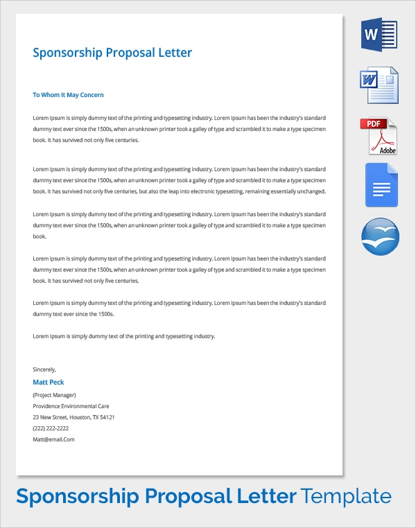 Sample Sponsorship Proposal Template 15 Documents in PDF Word – Sponsorship Letter for Project