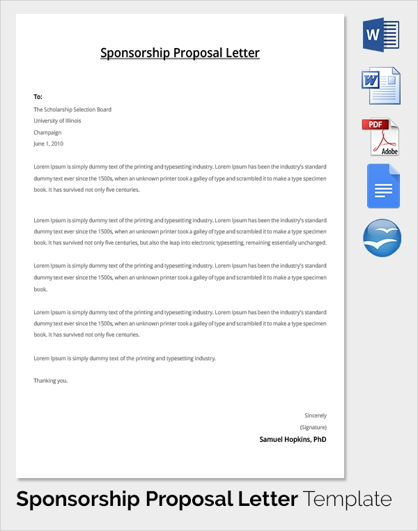 Sample Sponsorship Proposal Template 15 Documents in PDF Word – Sponsorship Templates