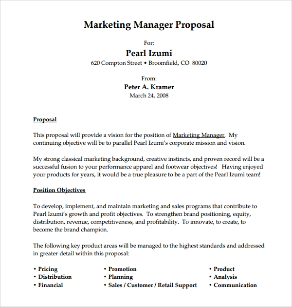 12 sample job proposal templates sample templates for Writing a proposal for a new position template