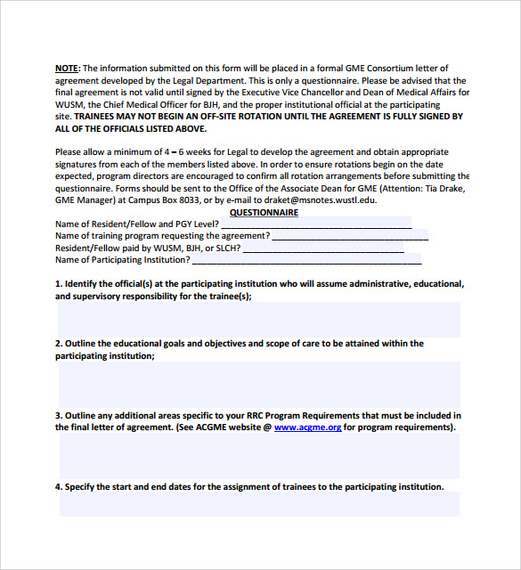 letter of agreement template download