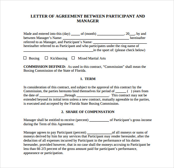 Letter Of Agreement   Download Free Documents In  Word