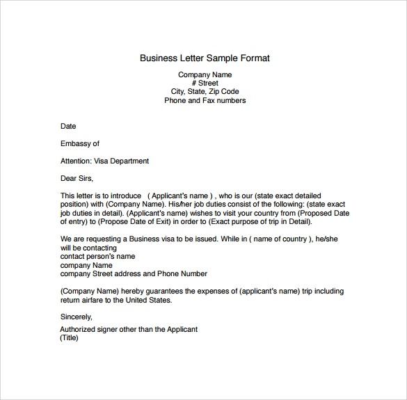 Business Letter Sample Format
