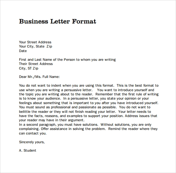 Business writing example