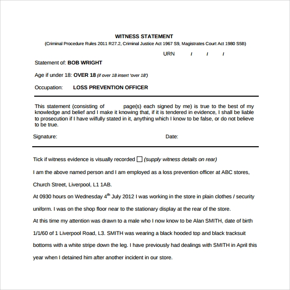 Witness Statement Template - 9+ Download Free Documents In Pdf, Word